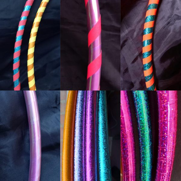 hula hoops decorados con cintas brillantes